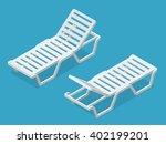 deck chair  beach chaise longue | Shutterstock .eps vector #402199201