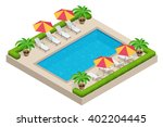 summer outdoor pool with beach... | Shutterstock .eps vector #402204445