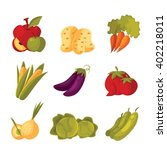 big set of different vegetables ... | Shutterstock .eps vector #402218011