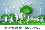 concept of eco with family... | Shutterstock .eps vector #402229429