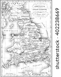 Stock photo britain anglo saxon map vintage engraved illustration colorful history of england 402238669