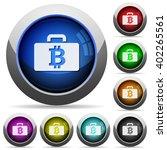 set of round glossy bitcoin bag ...