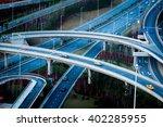 skyline and traffic flyover in... | Shutterstock . vector #402285955