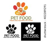 animal paw with meat  fish and... | Shutterstock .eps vector #402289291