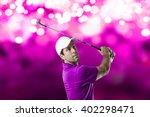 golf player in a pink shirt...   Shutterstock . vector #402298471
