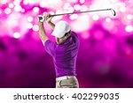 golf player in a pink shirt...   Shutterstock . vector #402299035