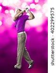 golf player in a pink shirt...   Shutterstock . vector #402299575