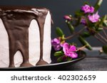 Pink Creamy Cake With Flowers...