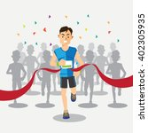 marathon runners cross the... | Shutterstock .eps vector #402305935