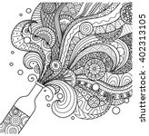 Champagne Bottle Line Art...