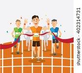 runners cross the finish line... | Shutterstock .eps vector #402314731