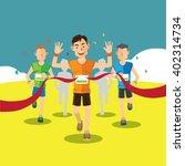 runners cross the finish line... | Shutterstock .eps vector #402314734