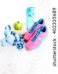 fitness concept with dumbbells... | Shutterstock . vector #402335689