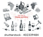 set of vine and cheese elements.... | Shutterstock . vector #402339484
