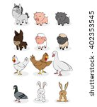set of different farm animals... | Shutterstock .eps vector #402353545