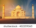 the taj mahal is an ivory white ... | Shutterstock . vector #402359365