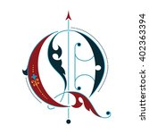 gothic initial q | Shutterstock .eps vector #402363394
