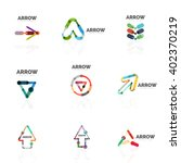 set of linear arrow abstract... | Shutterstock .eps vector #402370219