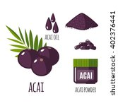 superfood acai berry set in... | Shutterstock .eps vector #402376441