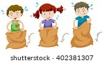 three children jumping in sacks ... | Shutterstock .eps vector #402381307