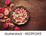 Pink And White Rose Petals In...