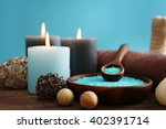 spa treatments on wooden table... | Shutterstock . vector #402391714