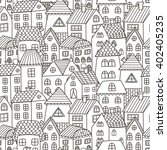 doodle houses seamless pattern. ... | Shutterstock .eps vector #402405235