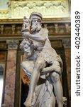 Small photo of ROME, ITALY - JUNE 14, 2015: Marble sculpture Aeneas, Anchises, and Ascanius by Gian Lorenzo Bernini in Galleria Borghese, Rome, Italy