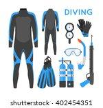 diving equipment flat style...   Shutterstock .eps vector #402454351