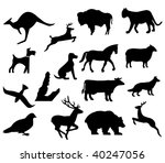 assorted animal silhouettes... | Shutterstock . vector #40247056