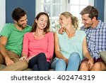 smiling happy friends sitting... | Shutterstock . vector #402474319