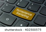 Small photo of Business Concept: Close-up the Acceptance Sampling button on the keyboard and have Gold, Yellow color button isolate black keyboard