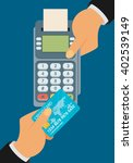pay merchant hands credit card... | Shutterstock .eps vector #402539149