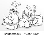 coloring. easter bunnies paint... | Shutterstock .eps vector #402547324
