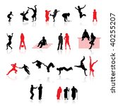silhouettes of people  fun... | Shutterstock .eps vector #40255207