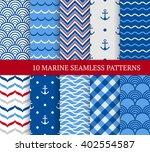ten marine different seamless... | Shutterstock .eps vector #402554587
