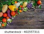fresh vegetables on wooden... | Shutterstock . vector #402557311