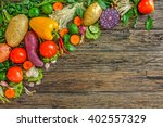fresh vegetables on wooden... | Shutterstock . vector #402557329