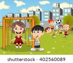 kids playing in the park... | Shutterstock . vector #402560089