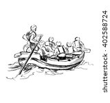 Hand Sketch Of People On A Raft