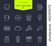 fast food light line icons set 1 | Shutterstock .eps vector #402595075