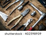 Color Image Of Many Tools On A...