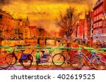 Stock photo rain over amsterdam canal impressionist style oil painting 402619525