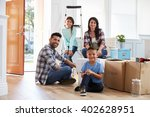 portrait of hispanic family... | Shutterstock . vector #402628951