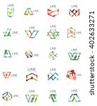 set of linear abstract logos ... | Shutterstock .eps vector #402633271