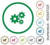 set of gears color round...