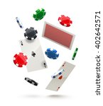 casino chips and cards isolated ... | Shutterstock .eps vector #402642571