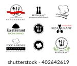 restaurant labels set isolated... | Shutterstock .eps vector #402642619