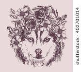 husky hippie and flowers. dog... | Shutterstock .eps vector #402701014