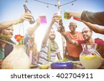 beach summer dinner party... | Shutterstock . vector #402704911